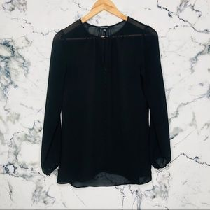 Le Chateau Sheer Long Sleeve Blouse Women Size XS